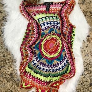Forever 21 multi color crochet vest